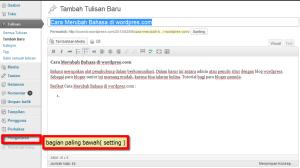 Cara Merubah Bahasa di wordpres.com